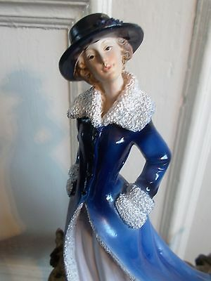 Lady Bluedress  Coat  Hat Figurine Statue Figure Vintage Steampunk Victorian