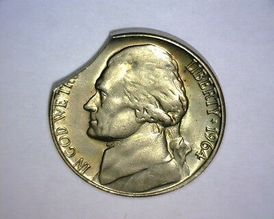 1964 D Jefferson Nickel, LARGE CURVED CLIP NICE !!! HIGH GRADE US  Error Coin