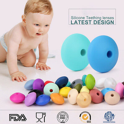 50Pcs Lentil Silicone Beads Teething Necklace Baby Teether Making BPA Free Mixed