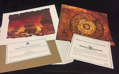 Disney Pirates of the Caribbean Ships and Sao Feng's Map Lithograph Print