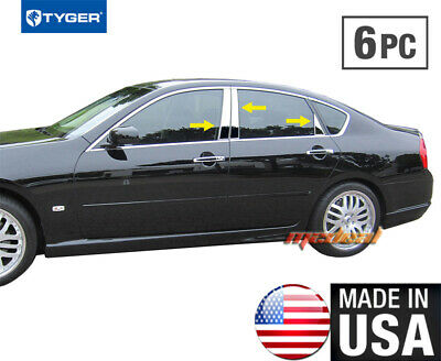 Fit:2003-2006 Infiniti G35 4Dr Sedan 6Pc Chrome Pillar Post Stainless Steel Trim