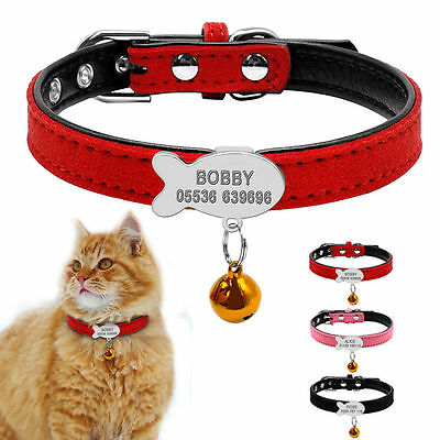 Suede Leather Personalized Dog Collars Fish/Bone Puppy Cat ID Name Tag Free Bell