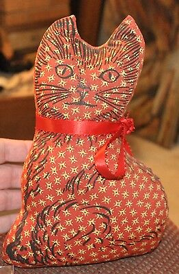 Vintage Cat Fabric Doorstop  Plush Weighted