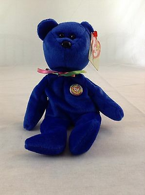 1998 Ty Beanie Baby Official Club Clubby The Royal Blue Bear Stuffed Animal Toy