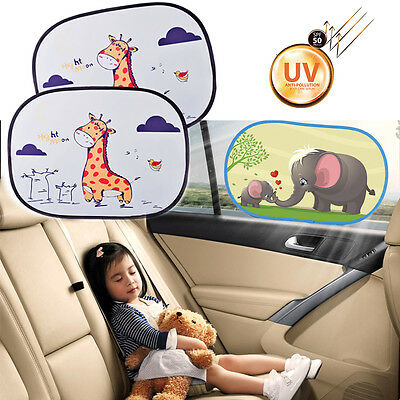 2Pcs Auto Car Side Rear Window Cover Cartoon Windshield Sun Visor UV Protector