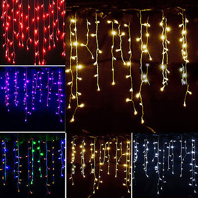3.5M 96 LED Icicle Hanging String Fairy Lights Curtain Christmas Wedding Party