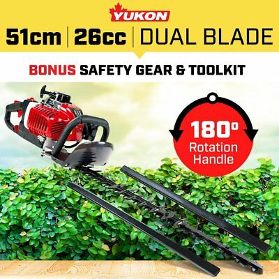 YUKON  26cc PETROL HEDGE TRIMMER CLIPPER BUSH GARDEN EQUIPMENT TOP AND SIDE CUT