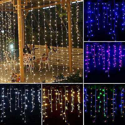 Hanging 4x0.8M LED String Fairy Lights Garden Wedding Xmas Party Curtain Icicle
