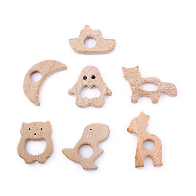 Lot of 7pcs Organic Natural Wooden Teether Baby Teething Toys Large Ring Toy
