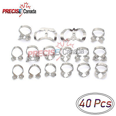 New 40 Each Rubber Dam Clamps Mix Numbers Dental Clamps