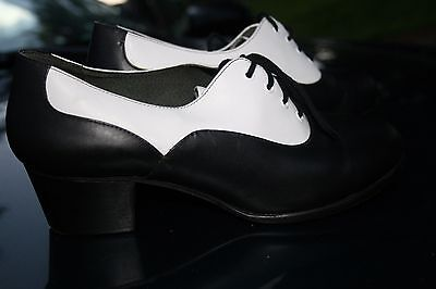Vintage Capezio Black and White Gold Series CG07 Heel Tap Shoes 7.5 m Leather