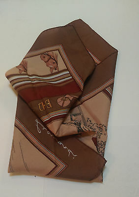 Vintage Leonardi womens scarve with horse racing motif browns yellows