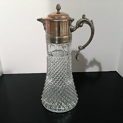 Vtg Leonard Crystal & Silverplate Claret Jug Decanter Wine Carafe Pitcher Italy
