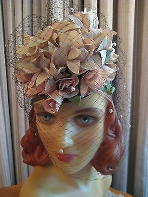 Fanciful 40's Pink And Ivory Floral Tilt Hat W/chenille Dot Veiling