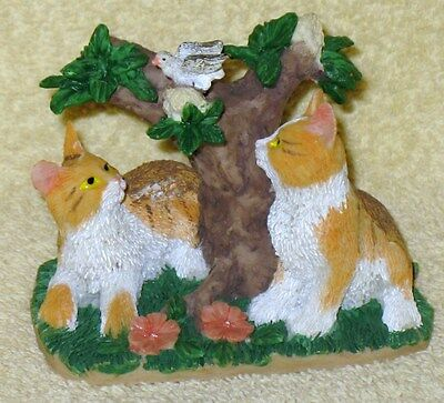 Cute Vintage Resin Pair Of Cats And Bird I Bush