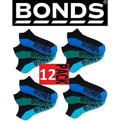 12 PAIRS x MENS BONDS LOW CUT BLACK LOGO ANKLE SPORT SOCKS Colours as Pictured