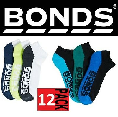 12 PAIRS x MENS BONDS LOW CUT LOGO ANKLE SPORT SOCKS Black or White
