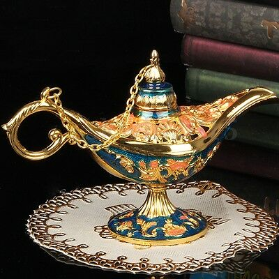 Vintage Hollow Carved Aladdin Lamp Zinc Alloy Wishing Light Wish Pot Decoration