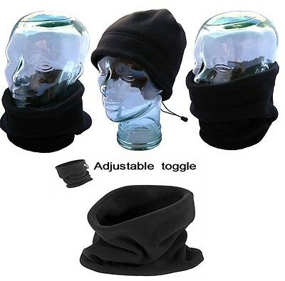 Womens Mens Winter Polyester Fleece Neck Gaiter Warmer Neck Scarf Snood Black