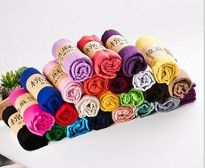 Women Long Candy Color Soft Cotton Scarf Wrap Shawl Light Wrinkled Stole Scarves