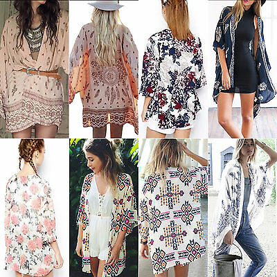 Womens Summer Kimono Cardigan Boho Floral Beach Cover Up Coat Blouse Shawl Tops