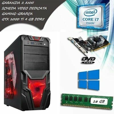 PC FISSO GAMING COMPUTER DESKTOP INTEL CORE i7 SSD 120GB HDD 1TB RAM 16GB GTX