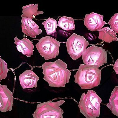 20 LED String Rose Flower Fairy Lights Indoor Christmas Party Bedroom Wedding