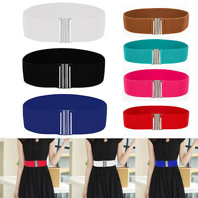 Retro Plain Elastic Metal Buckle Wide Waistband Women Corset Stretch Waist Belts