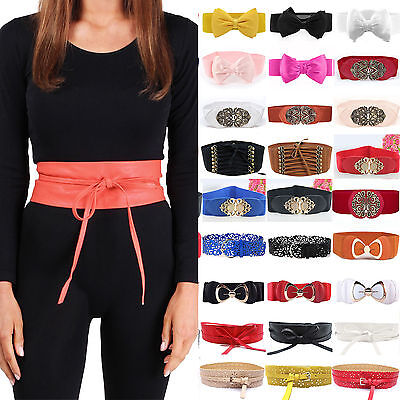 Women Vintage Leather Wide Belt Waist Elastic Stretch Metal Buckle Bow Waistband