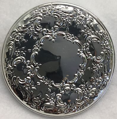 c.1950s TOWLE Round 925 Sterling OLD MASTER Repousse Vanity or Purse Mirror
