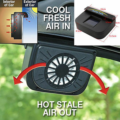 Solar Powered Car Vehicle Window Windshield Air Vent Cooling Fan System Cooler