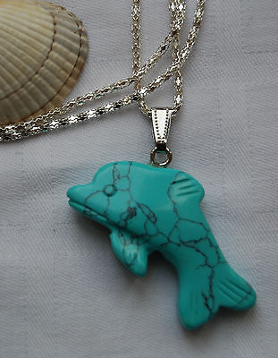 Unique lovely blue turquoise dolphin gemstone pendant silver plated necklace