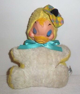 Rare Vtg Rubber Faced Plush Stuffed Sleeping Smiling Easter Duck! Just Adorable!