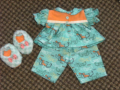 "NEW 16"" Girl Cabbage Patch Doll Clothes~3 pc PUPPY DOGS Pajamas & Slippers"