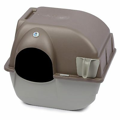 Omega Paw Roll n' Clean Cat Litter Box Medium Brown/Beige Easy Clean Toilet Tray