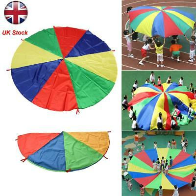 UK 2-8M Rainbow Parachute Kids Play Outdoor Game Exercise Fun Sport Toy Gift