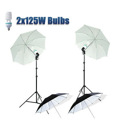 Photography Studio Umbrella Light Stand 2x125W Continuous Bulbs Lighting Kit UK
