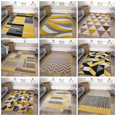 Ochre Mustard Rugs For Living Room Modern Soft Cosy Yellow & Grey Geometric Rugs