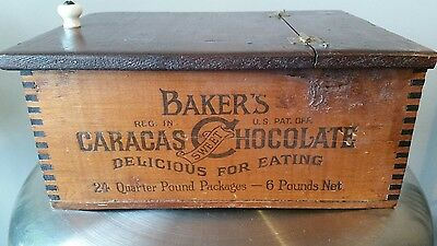 Antique Walter Baker Co Cocoa And Chocolate BoxHinger Lid Caracs chocolate