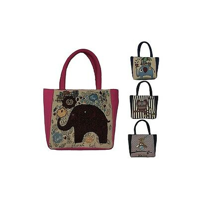 Style 227-MID SIZE TAPESTRY TOTE ASST PRINTS