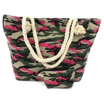 Style 533-CAMO-LARGE TOTE BAG W/ROPE HANDLE & CHANGE PURSE (CAMOUFLAGE)