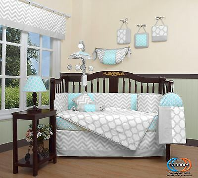 Blue & Gray Chevron Baby Girl Nursery CRIB BEDDING SET 14PCS Including Mobile