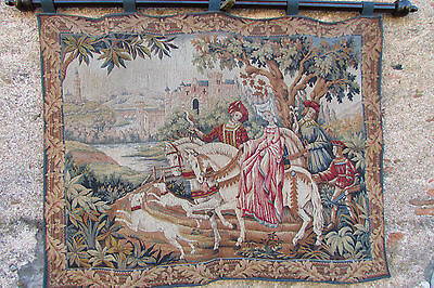 Stunning Vtg French Wool Tapestry La Chasse Royale Marc Waymel W/display Pole