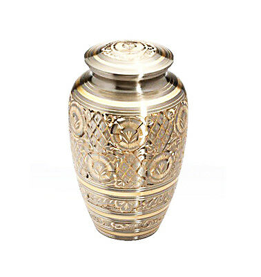 Large Vintage Art Deco Silver and Gold Urn for Adult or Pet Dog Ashes Cremains
