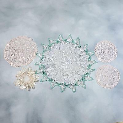 Lot Of 5 Crocheted Doilies With Silver & Gold Threads - Lot #6