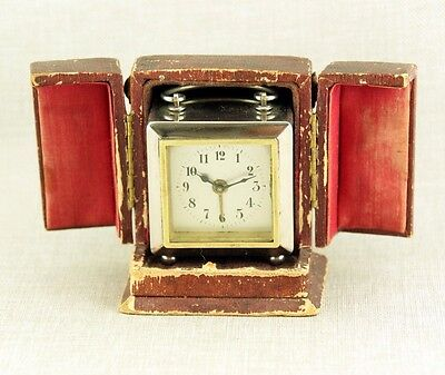 MUSEUM miniature Alarm Carriage Clock Reisewecker Offizier Wecker Uhr fusee desk