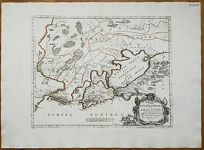 Sanson Large Colored Map Ukraine Cimmeria - 1694