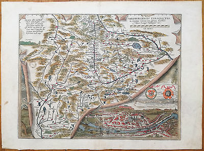 Ortelius Large Colored Map Salzburg Austria - 1570