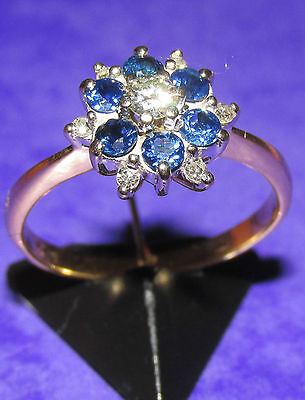 Stunning Secondhand 18Ct Yellow Gold  Sapphire & Diamond Cluster Ring Size M1/2