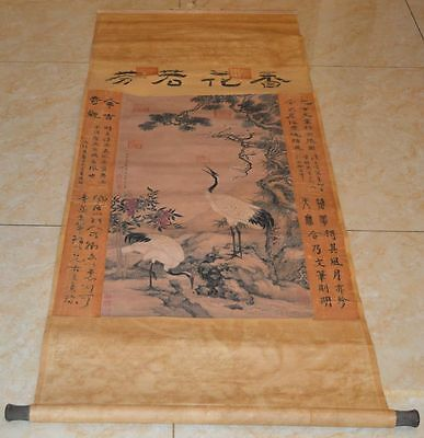 """CHINA OLD HANGING SCROLL PAINTING""""Crane Flower""""QING FAMOUS PAINTER沈铨COLLECTABLE"""